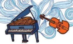 Musical concert with violin and piano